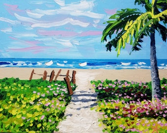 Beach canvas art, tropical palm tree painting, ocean oil painting, by Ryan Kimba