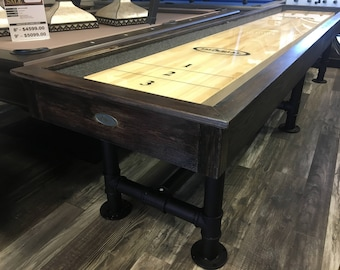 12ft Industrial Steel Shuffleboard different stain options available Table-Rustic Shuffleboard Imperial Bedford Game Room