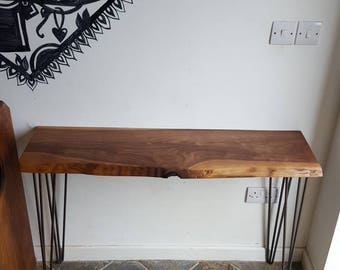 Walnut entryway table with hairpin legs