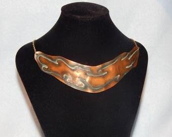 Vintage Artisan Tribal Copper Bib Necklace