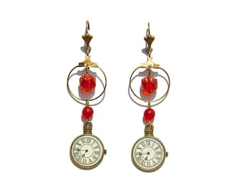 Red Pearl watch and ring charm earrings