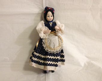 European Hand-Painted Porcelain Bisque Girl Doll