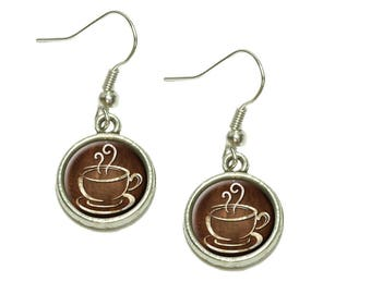 Coffee Cup Dangling Drop Charm Earrings