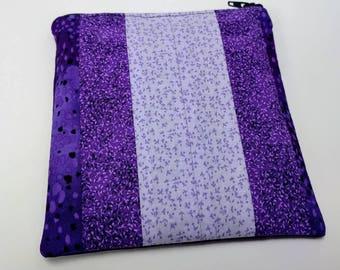 Purple stripe patchwork make up pouch - purple zipper lined purse - purple make up pouch - lined zipper bag - mini clutch bag