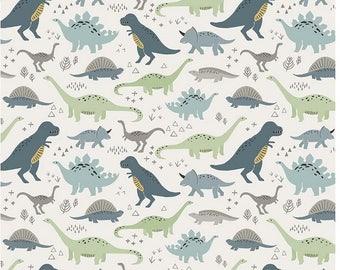Dinosaur Cotton Fabric - Cream Main Fossil Rim Deena Ritter - Riley Blake Designs - Dinosaur Fabric - Green Boy Fabric - Navy Dino Fabric