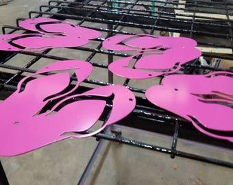 """Pink metal art flip flops. 10"""""""