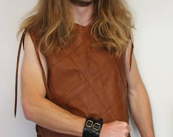 tabard; man leather tunic. medieval tunic; viking tunic; archer outfit