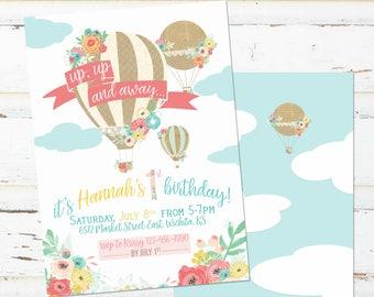 Hot Air Balloon Birthday Invitation - Bright colors