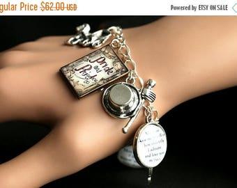 SUMMER SALE Pride and Prejudice Bracelet.  Pride and Prejudice Charm Bracelet. Jane Austen Bracelet. Silver Bracelet. Handmade Bracelet.