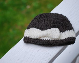 Gray with white bow crochet hat! (newborn-Adult)