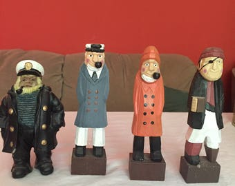 Nautical wooden men, 4, very nice, pirate, captain and two others