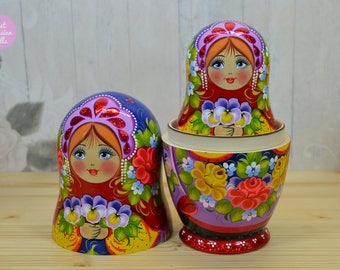 Hand made matryoshka doll, Gift for mom, Colourful nesting dolls, Gift for woman, Wooden babushka in floral dress, Russian folk art.