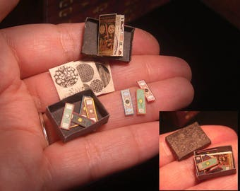 Miniature - Victorian Microscope slides . petri dish . microscope minibook and 3  ilustrations . in a box - DOWNLOAD - Scale 1:12 . tutorial