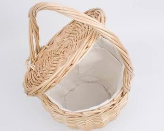 Round Wicker Willow Basket with Scarf, Jane Birkin Basket with Lid