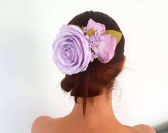 Blush purple floral blossom wedding hair style comb, delicate blush pink bridal flower hair comb, blush rose hair vine, blush hairpiece