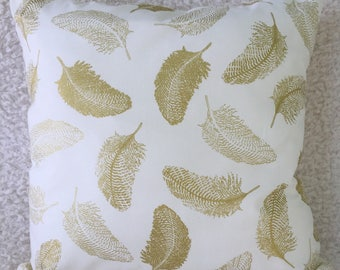Gold Leaves Cushion Cover, Cream Cushion Cover, Living Room, Conservatory, Bedroom, Housewarming Gift, Birthday Gift