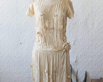 1910 Silk Full Beaded Gown with Rolled Roses