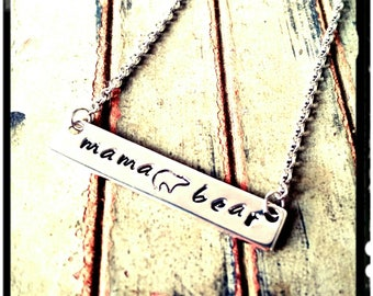 Mama Bear - Hand Stamped Necklace - Choose Silver/Gold/Rose Gold - High Polished//Solid Quality Bar// Mom Jewelry/Mother's Day Gift