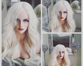 European Human Hair Wig / Platinum blonde Luxury Quality / Re-usuable guaranteed 2 - 4 years