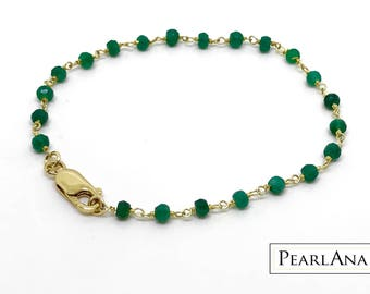 Real green emerald bracelet with 14 K gold plated chain