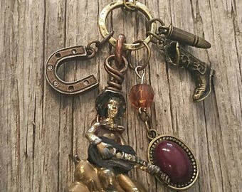 Repurposed jewelry,collage necklace, up cycled cowboy necklace, vintage, handmade necklace