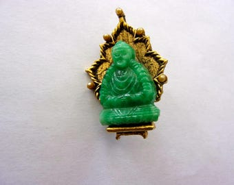 60's Green Buddha Brooch