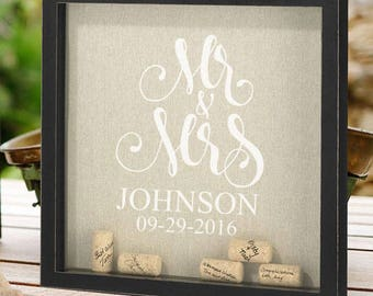Mr and Mrs Personalized Frame for Signing Corks - Corks Included - Alternative Signature Guestbook - JM1520559-1