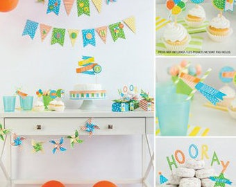 73pcs Celebration Shoppe Banner and Party Accessory Kit - Hip! Hip! Hooray!