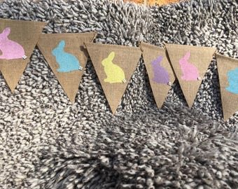 Easter bunny bunting garland Easter party decor, hessian bunting, Easter egg hunt, hessian bunting