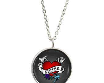 Sister Tattoo Pendant and Silver Plated Necklace