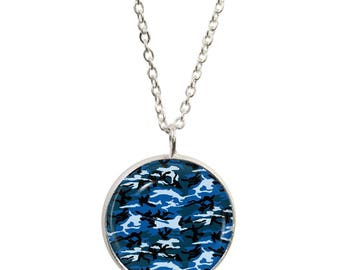 Blue Camouflage Pendant and Silver Plated Necklace
