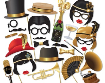 Gatsby Photo Booth props, Roaring 20s party Photobooth. 1920 Great Gatsby props, Flapper, Jazz. Instant Download printable props - 0186