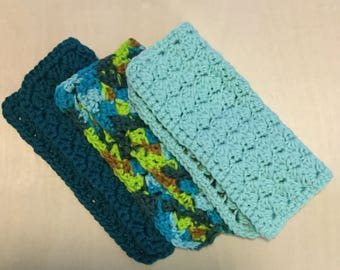 "Set of 3 - Handmade Crochet Dishcloths - 8"" x 8"" Cotton Washcloths"