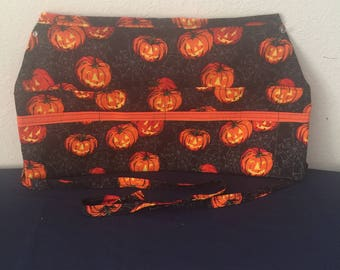 Halloween Jack O Lantern Half Apron, Vendor Apron, Teacher Apron, Waitress Apron
