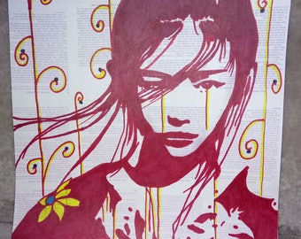 Red Chinese girl markers drawing