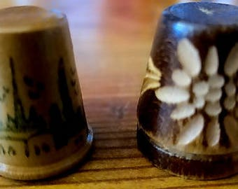 Two Wooden Thimbles