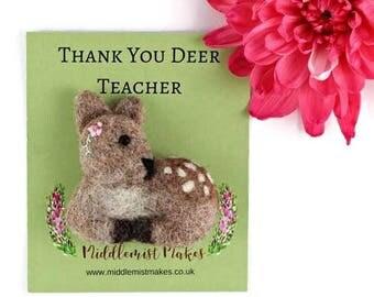 Teacher Gift, Teacher Jewellery, Teacher Brooch, Deer Pun Brooch, Teacher Pun Gifts, Animal Pun, Deer Pun, Fun Teacher Gift, Free Shipping