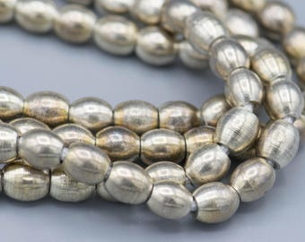 """86 8x6mm Silver Plated on Brass Barrel Spacer Beads with 2mm hole on a 22"""" Strand"""