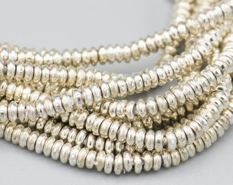 """400  - 3X1mm Small Heishi Silver Brass Metal Spacer Beads 21"""" Strand - jewelry supply"""