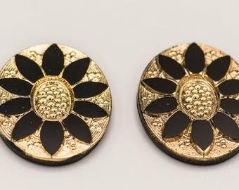 2 Vintage German Glass Cabachon Black and Gold Flower 33x25mm