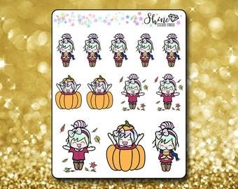 Luna Fall Stickers - Planner Stickers Erin Condren Life Planner Cute Emoji Autumn Character Girl Stickers ECLP Stickers Happy Planner