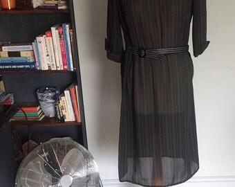 Vintage sheer black belted dress chic stripe straight neck