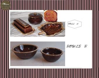 Hull U.S.A Pottery Brown Drip 1960 SETS
