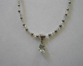 Green amethyst and sterling silver necklaces