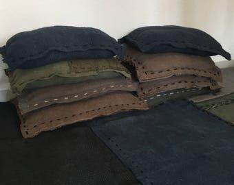cushion canvas jute - khaki
