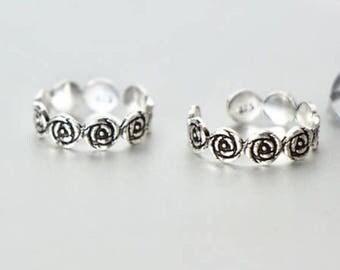 Roses Silver Toe Ring, womens Toe Ring, Adjustable Toe Ring, Minimalist Body Jewelry, Gift Item, Boholuxe,Wedding Wear, (TS8)