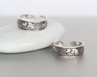 Oxidized Silver Elephant Toe Ring, Sterling Silver Toe Rings, Toe Ring, Simple Toe Rings, Gift For Her, Minimal Toe Band, (TS79)