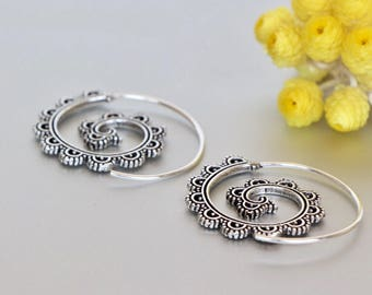 Boho Spiral Silver Ear Hoops, Sterling Silver Funky Hoops, Hoops, Piercing Hoops, Tribal Earrings, Ethnic Earrings,(E142)