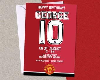12 Manchester United FC Football Soccer Personalised Birthday Party A6 Invitations with/without envelopes