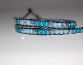 double wrap leather, blue Beads Bracelet